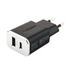 Сетевое зарядное устройство Deppa Wall charger 3.4A (USB + USB Type-C) Черный