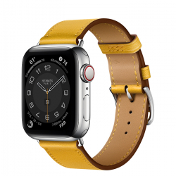 Часы Apple Watch Hermès Series 6 GPS + Cellular 40mm Silver Stainless Steel Case with Jaune Ambre Swift Leather Single Tour