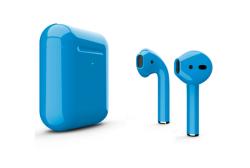 Беспроводная гарнитура Apple AirPods 2 Color беспроводная зарядка чехла (Голубой глянцевый)