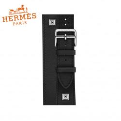 Ремешок кожаный для Apple Watch 38/ 40мм Hermès Double Tour (Noir)