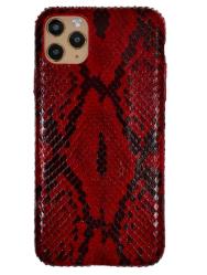 Чехол-накладка кожаная для iPhone 11 Pro Max No Logo Питон (Красный)